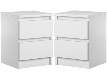 2 x table de chevet Pari 2 blanc mat 40 x 30 x 30 cm