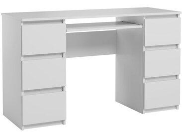 Bureau Jaris blanc mat 130 cm 6 tiroirs