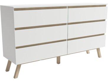 Commode 6 tiroirs Tinne blanc mat 43 x 138,2 x 90,3 cm