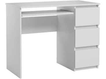 Bureau informatique avec 3 tiroirs Heini blanc mat 76 x 90 x 50 cm