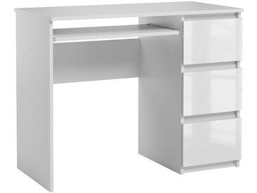 Bureau informatique avec 3 tiroirs Heini blanc brillant 76 x 90 x 50 cm