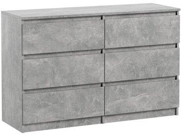 Commode 6 tiroirs Pari 6 gris 76 x 120 x 35 cm