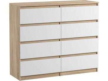 Commode 8 tiroirs Pari 8 blanc mat et sonoma 99,5 x 120 x 35 cm