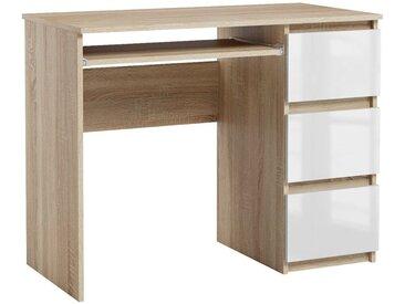 Bureau informatique 3 tiroirs Heini chêne sonoma et blanc brillant