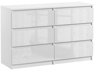 Commode 6 tiroirs Pari 6 blanc laqué 76 x 120 x 25 cm