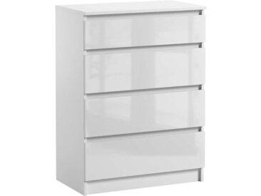 Commode 4 tiroirs Pari 4 blanc brillant 97 x 70 x 40 cm