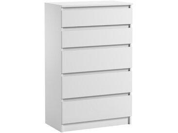Commode 5 tiroirs Pari 5 blanc mat 112,5 x 40 x 70 cm