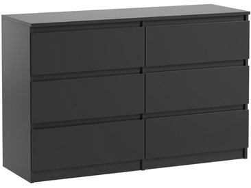 Commode 6 tiroirs Pari 6 noir mat 76 x 120 x 25 cm