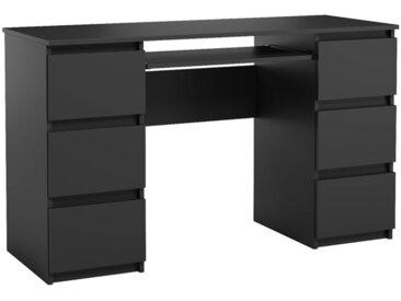 Bureau Jaris noir 130 cm 6 tiroirs