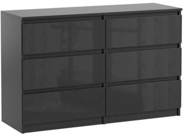 Commode 6 tiroirs Pari 6 noir laqué 76 x 120 x 35 cm