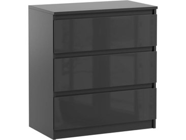 Commode 3 tiroirs Pari 3 noir brillant 70 x 40 x 76 cm
