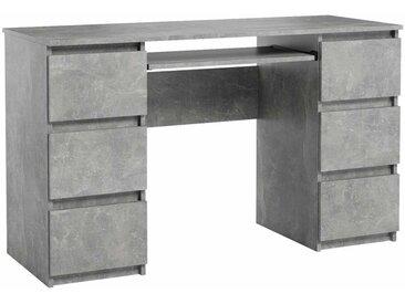 Bureau Jaris gris 130 cm 6 tiroirs