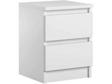 Table de chevet Pari 2 blanc mat 40 x 30 x 30 cm