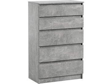 Commode 5 tiroirs Pari 5 grise 112,5 x 40 x 70 cm