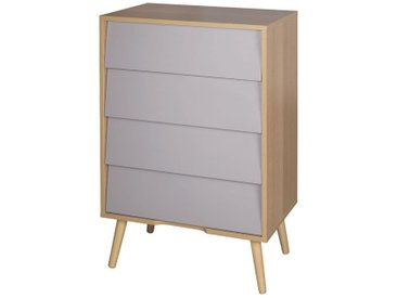 Cody - Commode 4 Tiroirs Aspect Bois et Gris Taupe