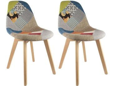Patchwork  - Lot de 2 Chaises Scandinaves Multicolore