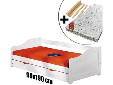 Barbara - Pack Lit Gigogne 90x190 Blanc + 1 Matelas Flashy