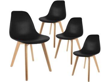 Melya - Lot de 4 Chaises Scandinaves Noires