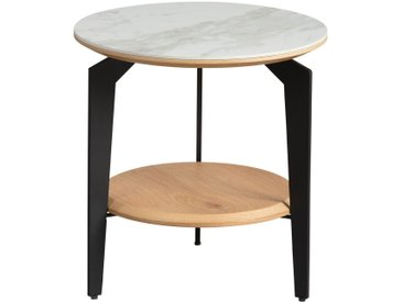 Tasha - Bout de Canapé Rond Métal et Céramique