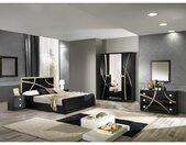 ALYSSA - Chambre Complète 160x200cm Noire et Or