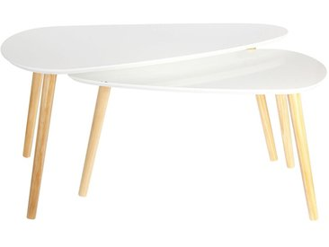 Kivi - Lot de 2 Tables Basses Gigognes Blanches