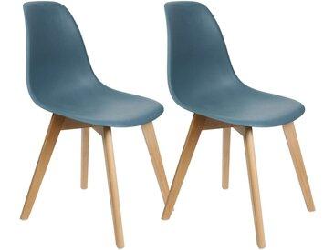 Melya - Lot de 2 Chaises Scandinaves Bleu Canard