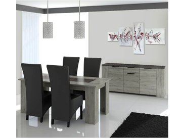 Ryki - Ensemble Table 160cm + Buffet 3 Portes 1 Tiroir