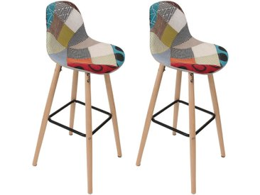 Patchwork - Lot de 2 Tabourets de Bar Scandinaves