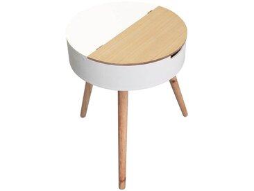 Rofia - Table Basse Ronde Blanche avec Coffre