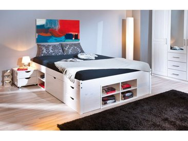 Alaska - Lit 140x200 cm multi-rangement Vernis Blanc