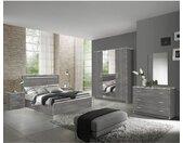 NAKTAM - Chambre Complète 160x200cm Aspect Chêne Gris Laqué