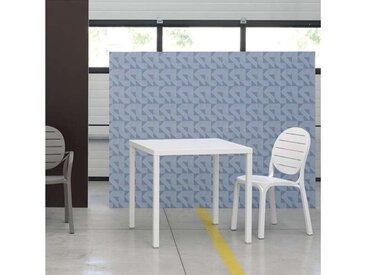 Table de terrasse carrée empilable en polypropylène blanc et alu - Cube