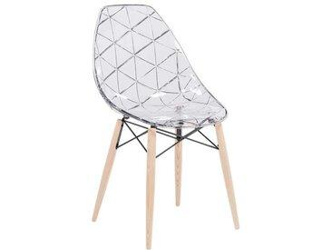 Chaise scandinave transparente avec pieds en bois naturel - Prisma