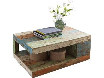 Table basse en bois multicouleur vintage en bois massif recyclé 90 cm x 60 cm collection C-Burton