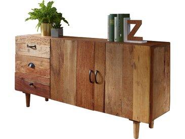 Buffet bahut rustique vintage en bois massif avec 3 tiroirs et 2 portes 138x40x68 cm collection C-Martinek