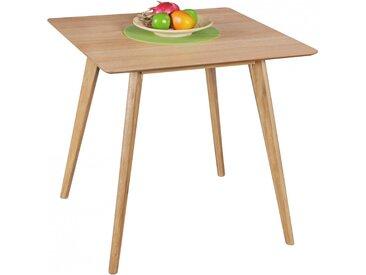 Table à manger carrée 80 x 80 cm design scandinave en MDF coloris chêne collection C-Alberico