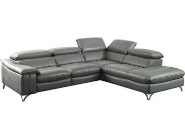 Canapé d'angle relax électrique design avec méridienne droite en cuir véritable et pvc coloris gris