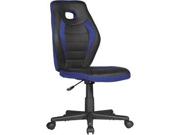 Chaise de bureau bleu design en mousse + pu + plastique et polypropylène collection C-Helin  L. 63 x P. 63 x H. 91-103 cm