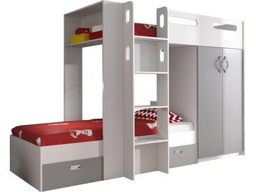 Lit superposé 90x200 avec rangements coloris blanc et gris