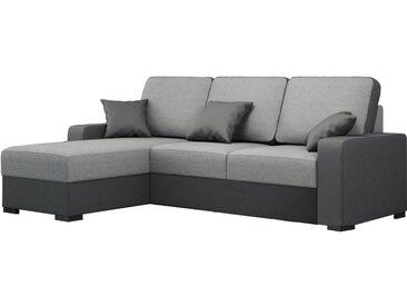 Canapé d'angle convertible design avec méridienne gauche en tissu gris et pvc noir