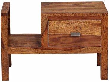 Table de chevet en bois massif sheesham avec tiroir et porte-revues 60 cm collection C-Gepp