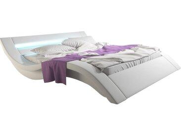 Lit design 140x190 cm en pu blanc avec éclairage Led avec télécommande inclus