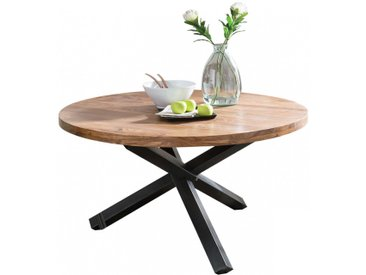 Table à manger ronde 130 cm en bois de Sheesham massif coloris naturel et noir collection C-Sozdur