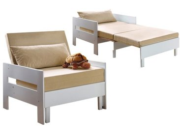Fauteuil convertible en bois de hetre massif coloris blanc et tissus beige