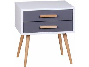 Table de chevet design scandinave 50 cm à 2 tiroirs avec piétement en chêne coloris blanc et gris collection C-Powell