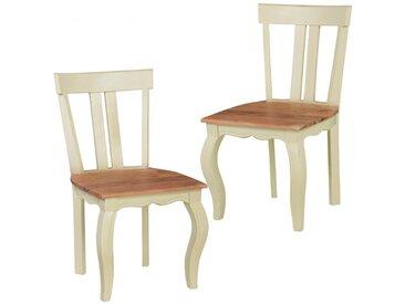 Lot de 2 chaises en bois massif avec piétement coloris blanc collection C-Louise