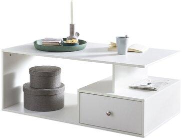 Table basse blanc design en panneaux de particules mélaminés de haute qualité  L. 105 x P. 60 x H. 43 cm collection C-Greta
