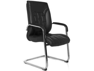 Chaise cantilever en cuir véritable avec accoudoirs en métal coloris noir collection C-Papirnik