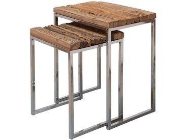 Ensemble de 2 Tables gigognes marron rustique en bois massif recyclé  L. 51-40 x P. 38 x H. 66-56 cm collection C-Deni