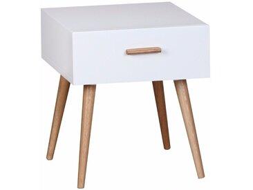Table de chevet design scandinave 40 cm à tiroir avec piétement en chêne coloris blanc collection C-Powell